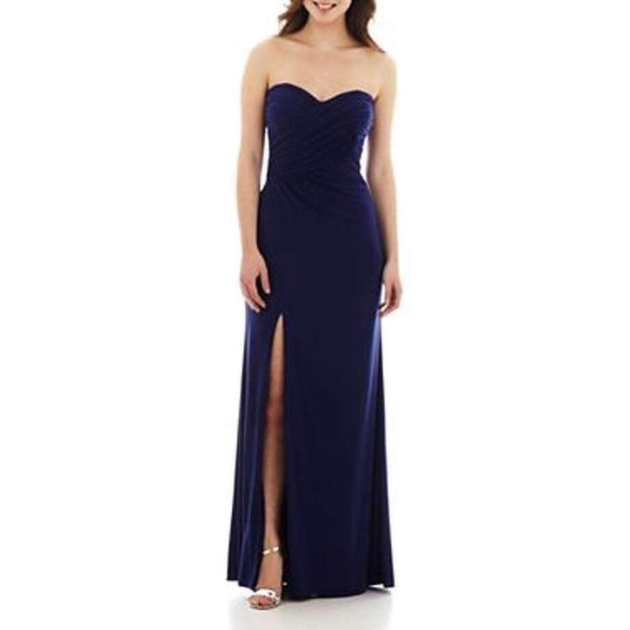 Haley Logan Rhinestone strapless sweetheart dress, $134, JCPenney