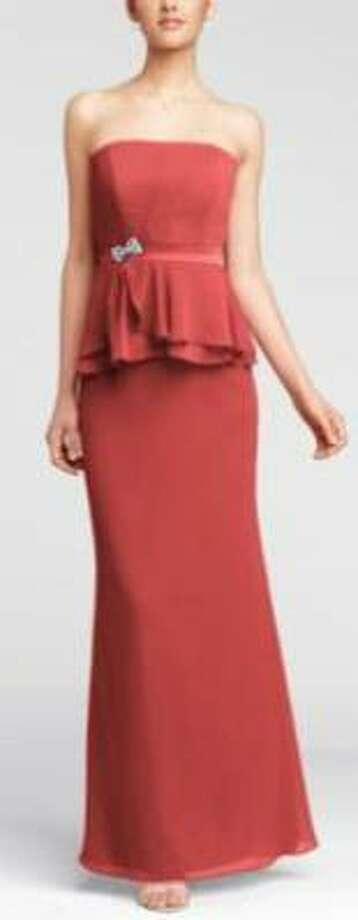 Strapless chiffon peplum dresss with brooch in Guava, $159, David's Bridal