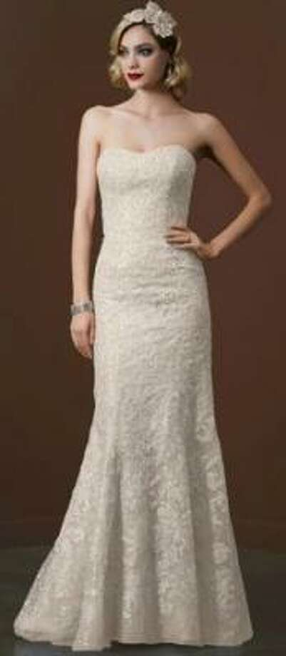 Strapless trumphet gown in Champagne, $1320 (sale), David's Bridal