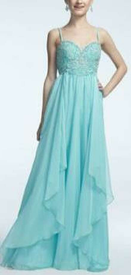 Spaghetti strap dresss with beaded bust in mint, $259, David's Bridal