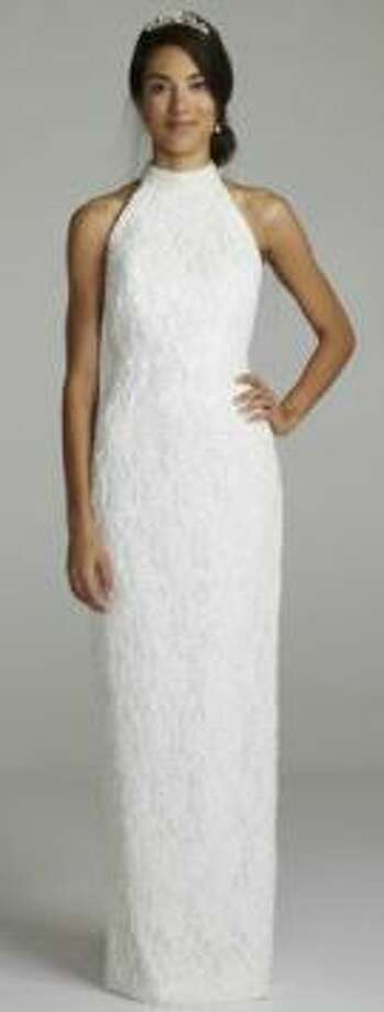 Lace halter gown with sweep train in Ivory, $599, David's Bridal
