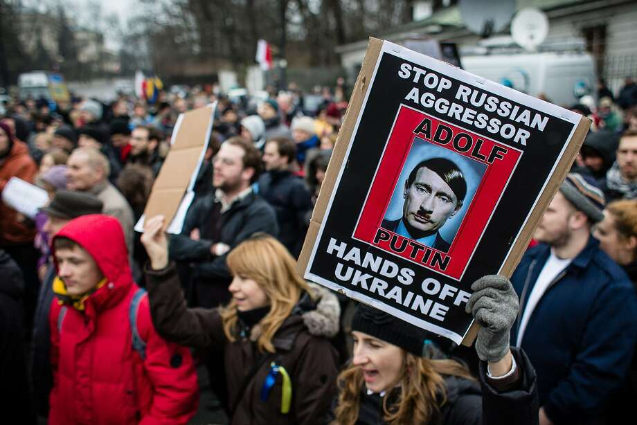 Invasion causes a fuehrer:Ukrainians and Poles rally in front of the Russian embassy in Warsaw   against Russian military action in the Crimean peninsula. Photo: Wojtek Radwanski, AFP/Getty Images