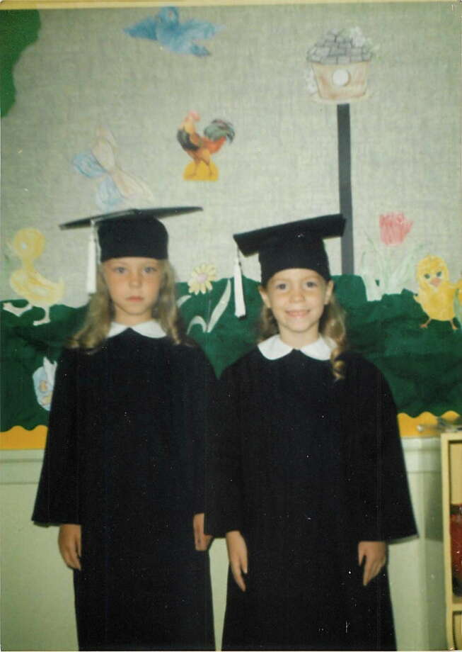 Then: In 1970, cousins, Gina Yarbrough and Michelle McGee graduated from kindergarten together at Shearer Hills Baptist in San Antonio--often wearing matching dresses made by Gina's mom. Photo: Courtesy