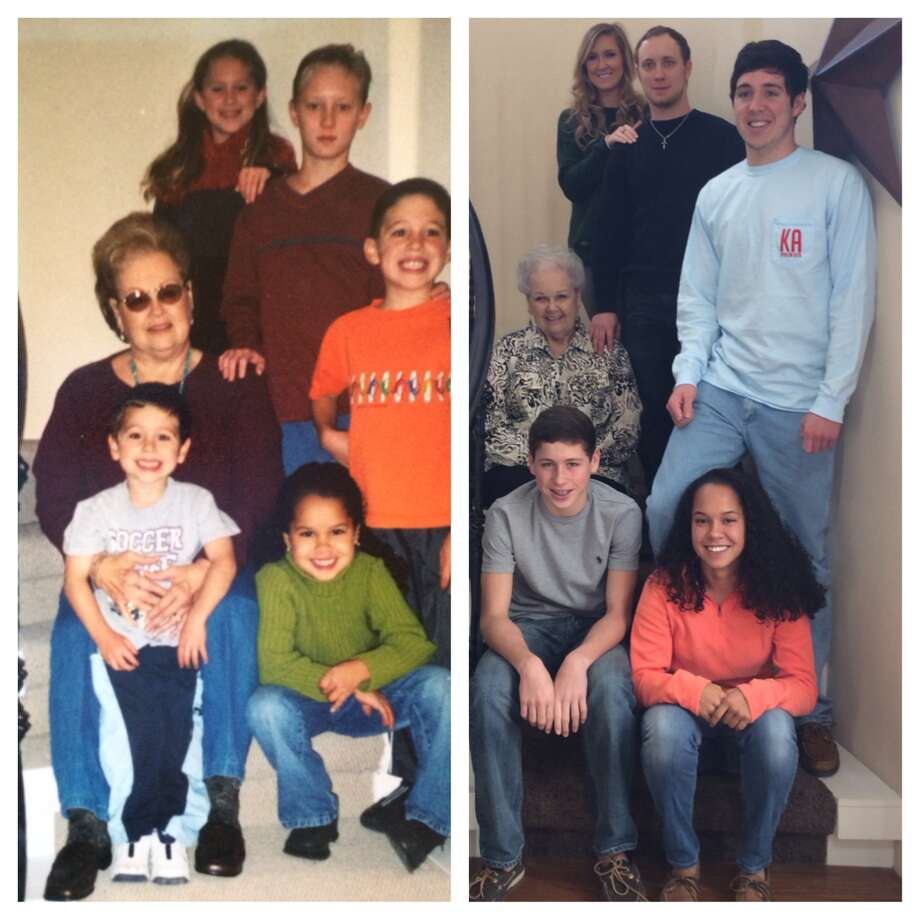 First picture of Peggy McMurrey with her five grandchildren on staircase at son's home In Fair Oaks. It was taken Thanksgiving 2004. Grandchildren are (top) Rachel Cauley, Cody Cauley, Peggy, Hunter McMurrey, Hayden McMurrey & Sydney McMurrey.  Next picture same place Thanksgiving 2013. Photo: Courtesy