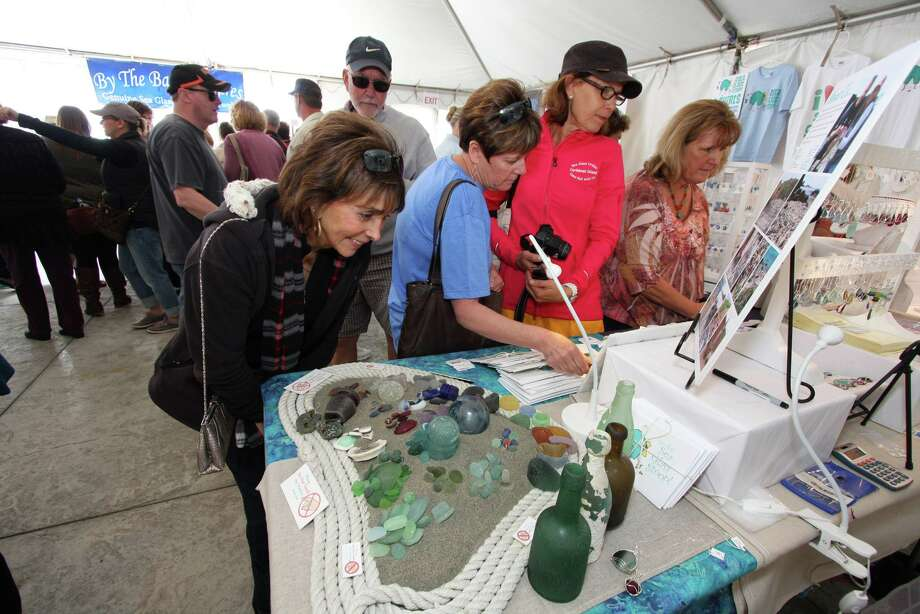 The Cayucos Sea Glass Festival includes plenty of the raw material (the real stuff, not the factory-polished)  to examine as well as art and  jewelry, this year created by 38 vendors. Photo: Cayucos Sea Glass Festival
