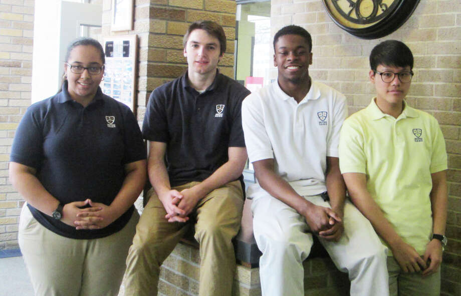 NOTRE DAME STUDENTS OF THE MONTH These four students were selected as Notre Dame Catholic High School's Students of the Month for February.The quartet --- one from each class at ND --- were nominated by faculty and judged on attitude, community service and academic achievement. From left, they are freshman Adriana Marra, junior Jake Heaton, senior Jaylen Jennings and sophomore Patrick Cho. Photo: Contributed, Fairfield Citizen/Contributed / Fairfield Citizen