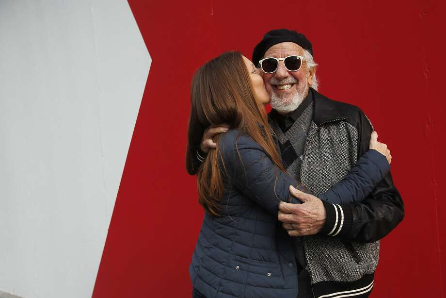 Page Hannah Adler, who dreamed up the Painted Turtle camp 17 years ago, smooches husband Lou Adler. The two are behind the entertainment at the benefit event at Davies Symphony Hall in S.F. next week. Photo: Leah Millis, The Chronicle