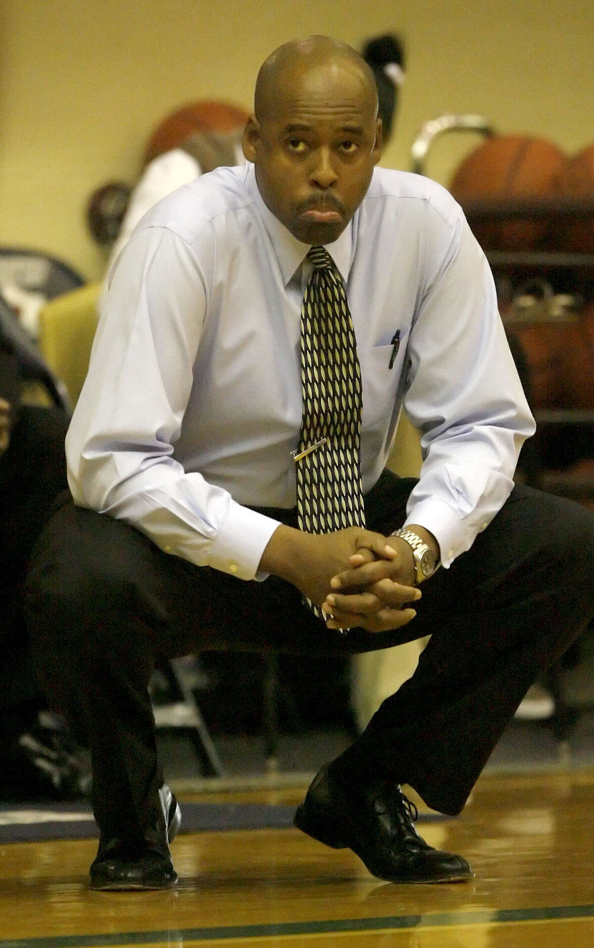 Sam Houston Coach Ike Thornton eyes the action in this 2008 photo