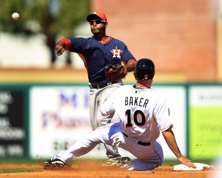 March 3: Astros 4, Marlins 0  Miami's Jeff Baker is tagged out at second base by Gregorio Petit after Miami's Casey McGehee grounded out in the second inning. Photo: Karen Warren, Houston Chronicle