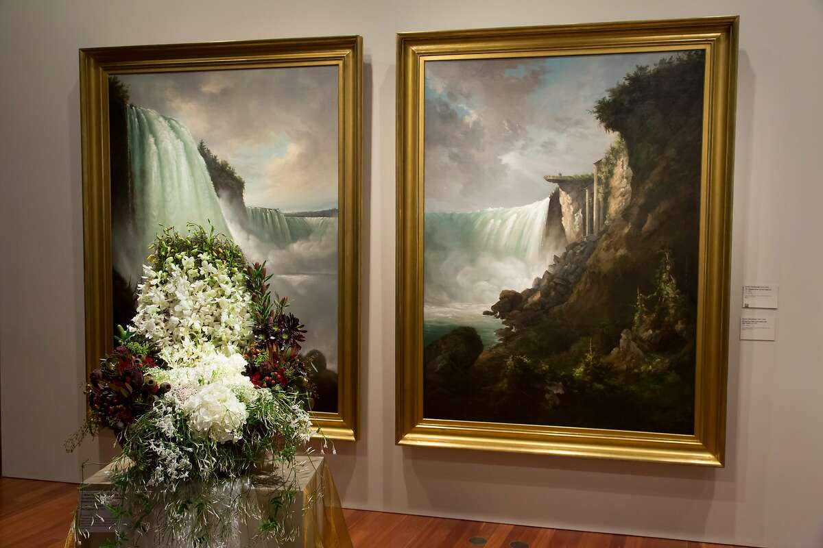 J. Miller Flowers & Gifts installation for 2013 Bouquets to Art at the de Young Museum, San Francisco. Gustav Grunewald, The Niagra River at the Cataract and Horseshoe Falls from below the High Bank, c. 1832. Oil on canvas. Fine Arts Museums of San Francisco, gift of John D. Hatch,V, in memory of John Davis Hatch, A.I.A., architect of San Francisco.