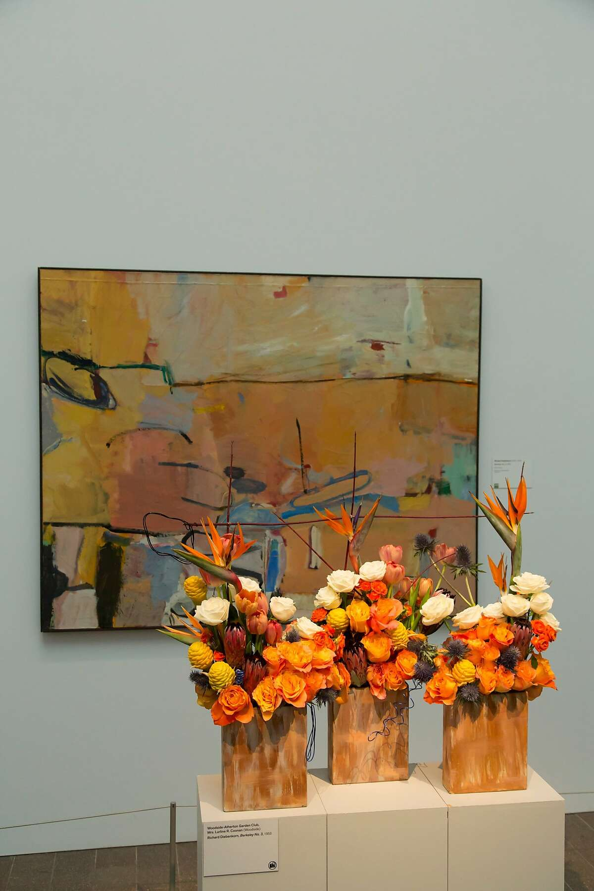 Woodside-Atherton Garden Club installation for 2013 Bouquets to Art at the de Young Museum, San Francisco. Richard Diebenkorn, Berkeley #3, 1953. Oil on canvas. Fine Arts Museums of San Francisco, bequest of Josephine Morris.