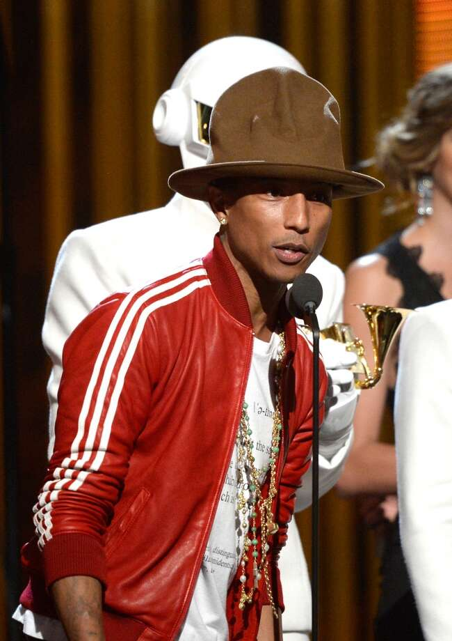 LOS ANGELES, CA - JANUARY 26:  Musician Pharrell Williams accepts the Record of the Year award for 'Get Lucky' onstage during the 56th GRAMMY Awards at Staples Center on January 26, 2014 in Los Angeles, California.  (Photo by Kevork Djansezian/Getty Images) Photo: Kevork Djansezian, Getty Images