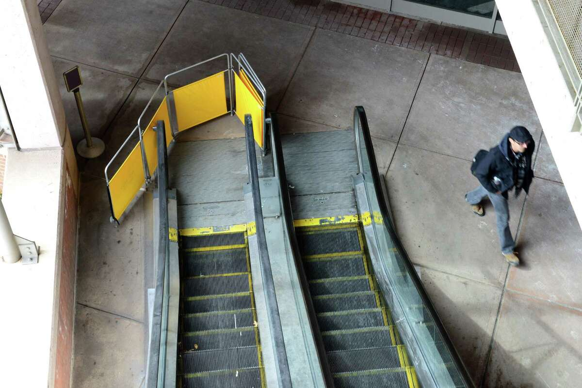 The upward escalator to the second floor of the parking garage at Albany International Airport is out of service Monday, March 3, 2014, in Colonie, N.Y. (Will Waldron/Times Union)