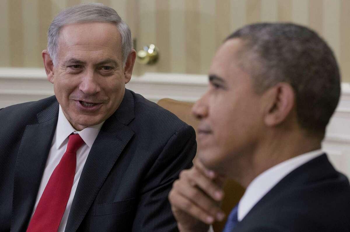 In the Oval Office, President Barack Obama and Israeli leader Benjamin Netanyahu address Palestinian diplomacy.