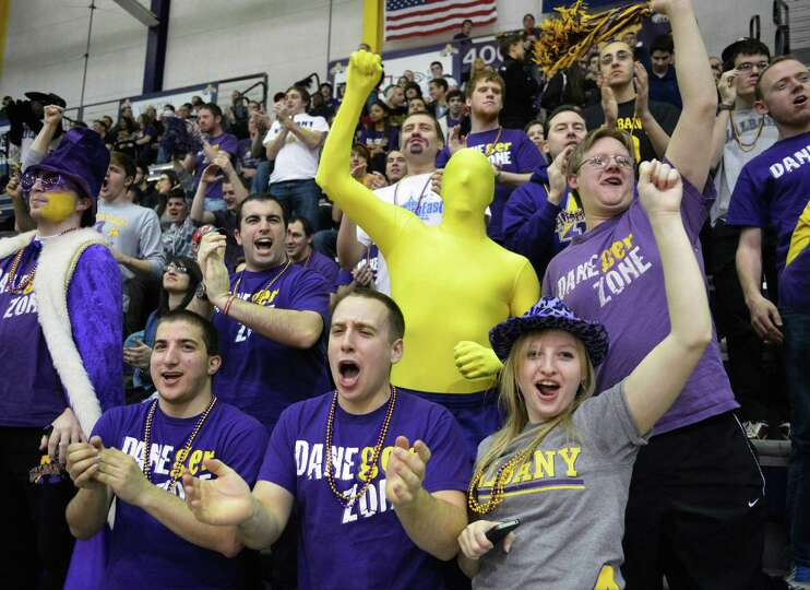 UAlbany cheer their team on against Maine during their America East tournament game in Albany Saturd