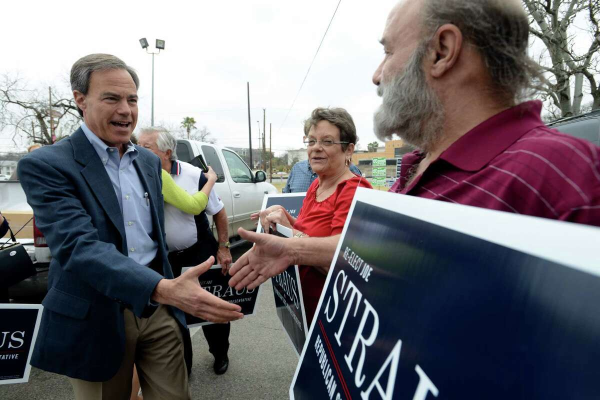 Texas House Speaker Joe Straus, R-San Antonio, who represents Texas House District 121, arrives to cast his ballot in early voting at Lions Field on Tuesday, Feb. 18, 2014.