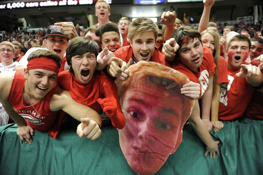 Guilderland fans cheer during the Class AA boys' basketball final against Green Tech at the Times Union Center on Monday, March 3, 2014 in Albany, N.Y. (Lori Van Buren / Times Union) Photo: Lori Van Buren / 00025965A