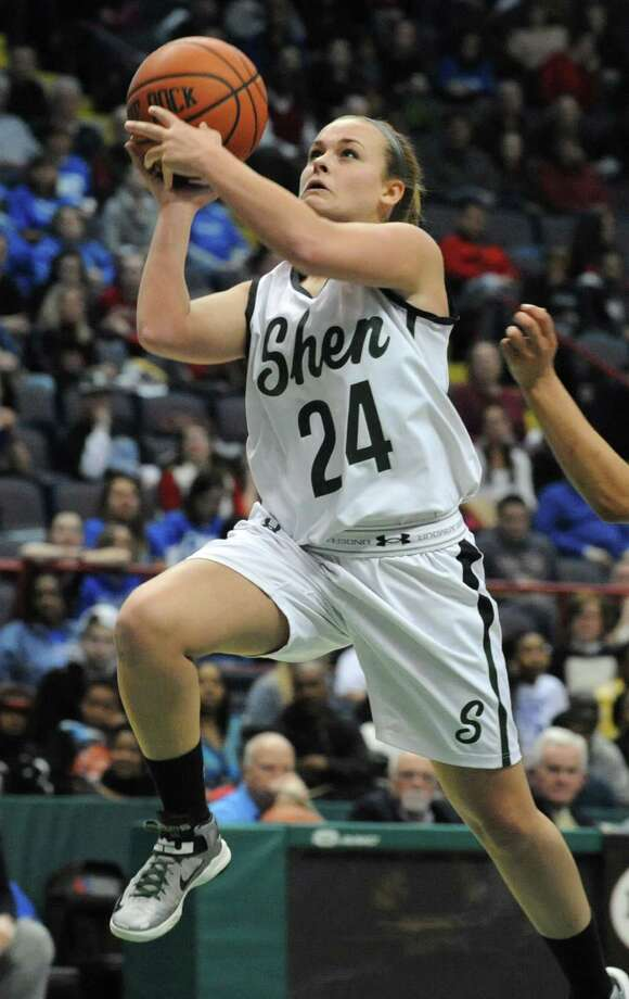 Shenendehowa's Ashley Acker is fouled as she makes this layup during the Class AA girls' basketball title game against Albany at the Times Union Center on Monday, March 3, 2014 in Albany, N.Y. (Lori Van Buren / Times Union) Photo: Lori Van Buren / 00025964A