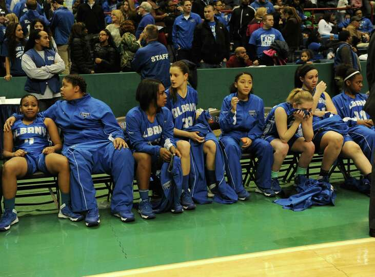 Albany girls show emotion after being defeated by Shenendehowa in the Class AA girls' basketball tit