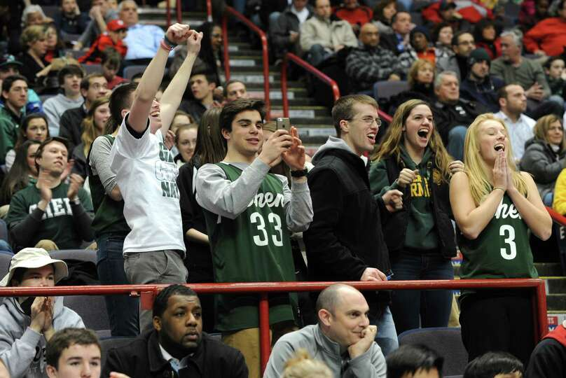 Shenendehowa fans celebrate as their girls beat Albany in the Class AA girls' basketball title game