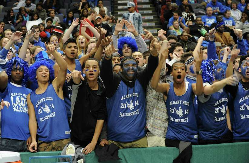 Albany fans cheer for their team during the Class AA girls' basketball title game against Shenendeho