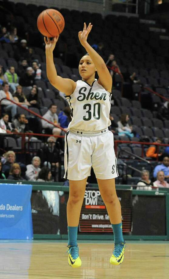 Shenendehowa's Samira Sangare goes up for a jump shot during the Class AA girls' basketball title game against Albany at the Times Union Center on Monday, March 3, 2014 in Albany, N.Y. (Lori Van Buren / Times Union) Photo: Lori Van Buren / 00025964A
