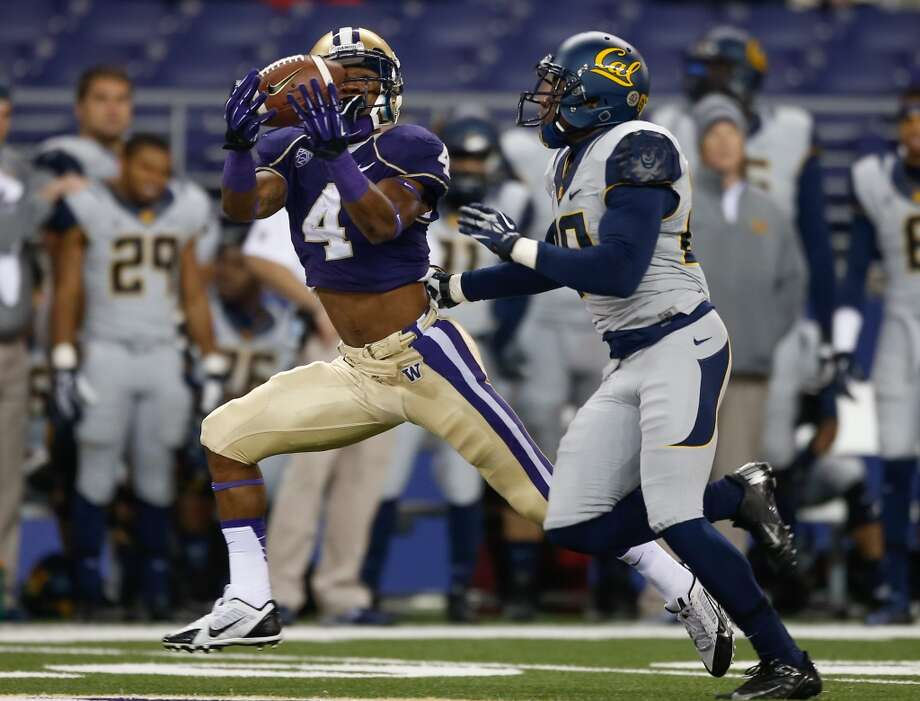 How does Petersen weather his first storm in Seattle? (continued) With 17 receptions in the Huskies' last four games — including a monster 8 catch, 148-yard effort at UCLA with Miles at quarterback — Stringfellow looked poised to break out a year after signing with the Dawgs as the most celebrated recruit of Sarkisian's 2012 class. With Stringfellow suspended and Kasen Williams sidelined with injury, another player has a chance to step up in spring ball to establish themselves opposite leading receiver Jaydon Mickens (above). Photo: Otto Greule Jr, Getty Images