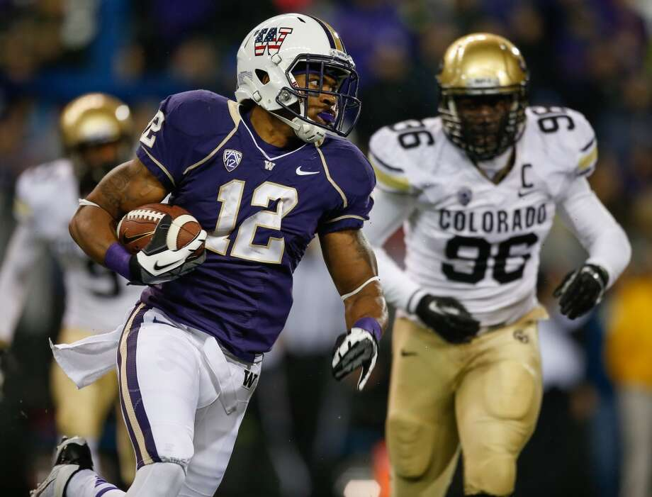 Who replaces Bishop Sankey as the Huskies' workhorse? (continued) Up to five players could conceivably start at running back, but each comes with major question marks. Can senior Deontae Cooper come back strong after three knee surgeries? How about Jesse Callier, a former starter who came back from his own ACL surgery a year ago? Or perhaps sophomore Dwayne Washington (above) who showed potential to be a game breaker with his 11-carry, 141-yard, 2-touchdown effort against Oregon State? As far as the Huskies' running back situation goes, there are plenty of intriguing questions, but very few concrete facts. Photo: Otto Greule Jr, Getty Images