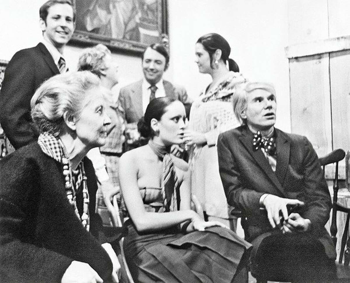 Dominique de Menil, Jane Forth and Andy Warhol during the opening of the Rice Museum exhibition