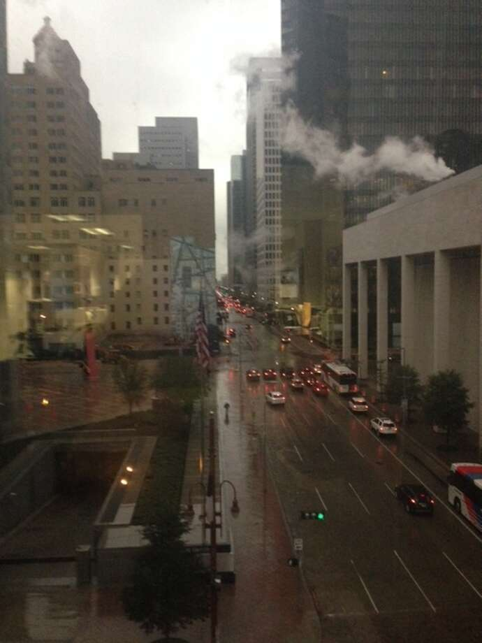 Rain dampens downtown Houston Tuesday morning, March 4, 2014. (Melissa Aguilar/Houston Chronicle)