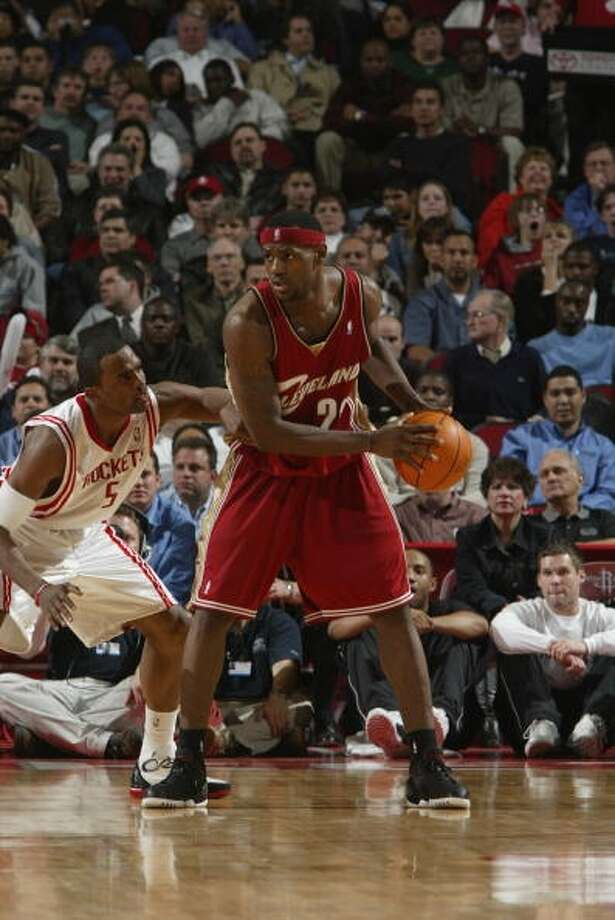 Rockets 90, Cavaliers 84 Feb. 25, 2004  LeBron's stats: 11 points, 7 rebounds, 5 assists Photo: Bill Baptist, NBAE Via Getty Images