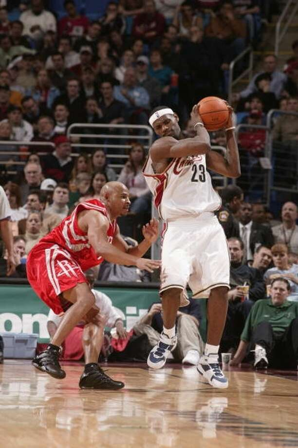 Rockets 98, Cavaliers 87 Dec. 29, 2004  LeBron's stats: 3 points, 5 assists, 3 rebounds Photo: David Liam Kyle, NBAE Via Getty Images