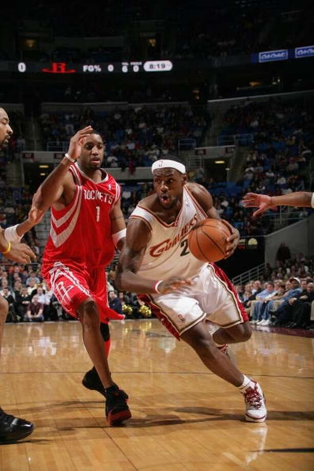 Rockets 90, Cavaliers 81 Jan. 5, 2006  LeBron's stats: 32 points, 5 assists, 9 rebounds, 1 steal Photo: Jesse D. Garrabrant, NBAE Via Getty Images