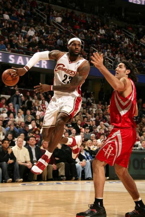 Rockets 93, Cavaliers 85 Feb. 19, 2008  LeBron's stats: 26 points, 11 assists, 13 rebounds, 2 steals Photo: David Liam Kyle, NBAE Via Getty Images
