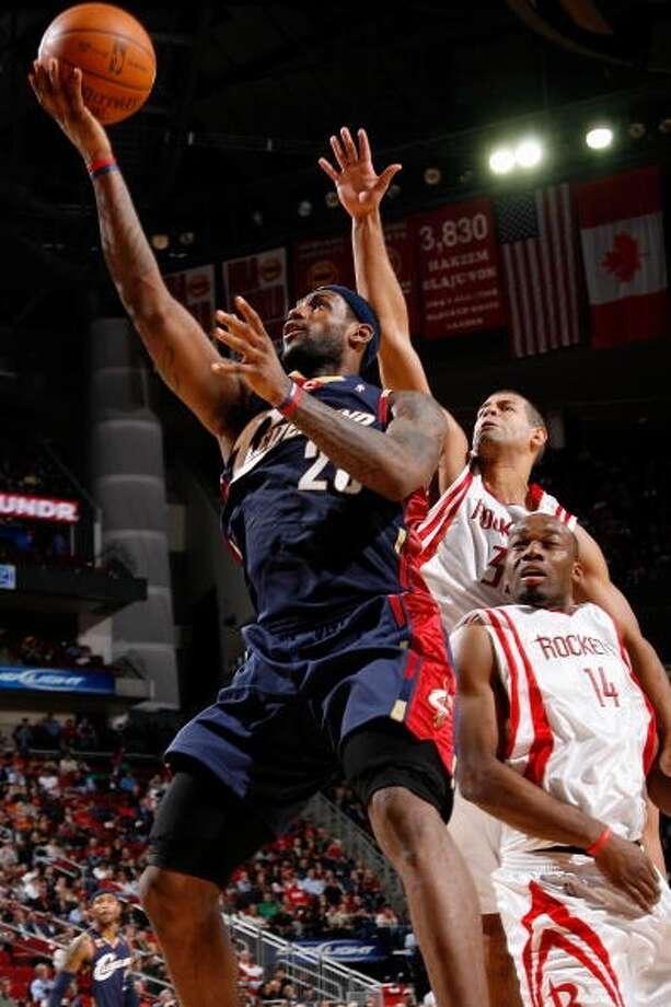 Rockets 95, Cavaliers 85 Dec. 9, 2009  LeBron's stats: 27 points, 7 assists, 6 rebounds, 1 steal, 1 block Photo: David Liam Kyle, NBAE Via Getty Images