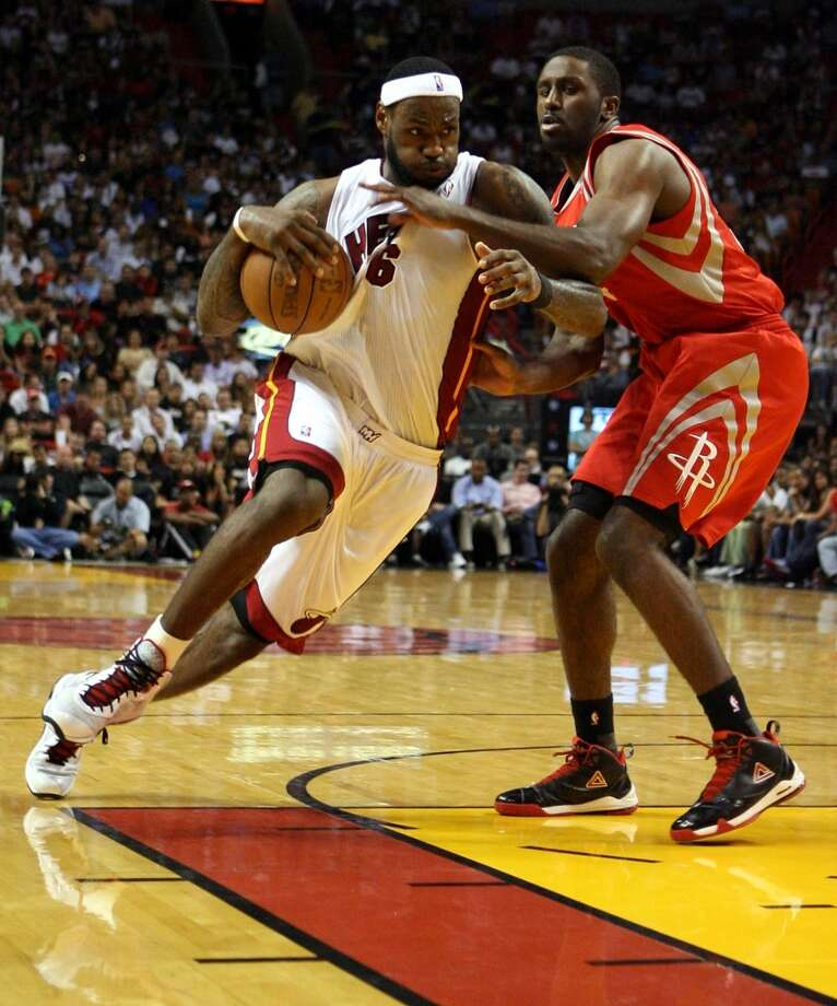 Heat 125, Rockets 119 March 27, 2011  LeBron's stats: 33 points, 7 assists, 10 rebounds Photo: Marc Serota, Getty Images