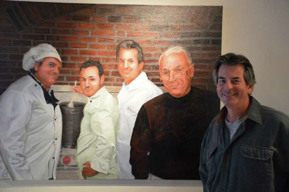 A painting depicts the four owners of new Barolo Wine Bar & Trattoria, 136 Main St., New Canaan, are, from left, Raffaele Gallo, Giuseppe Castelano, Gary Weinstein, who is also on the far right, and Eric Grant. Jarret Liotta/For the New Canaan News Photo: Contributed Photo, Contributed / New Canaan News Contributed