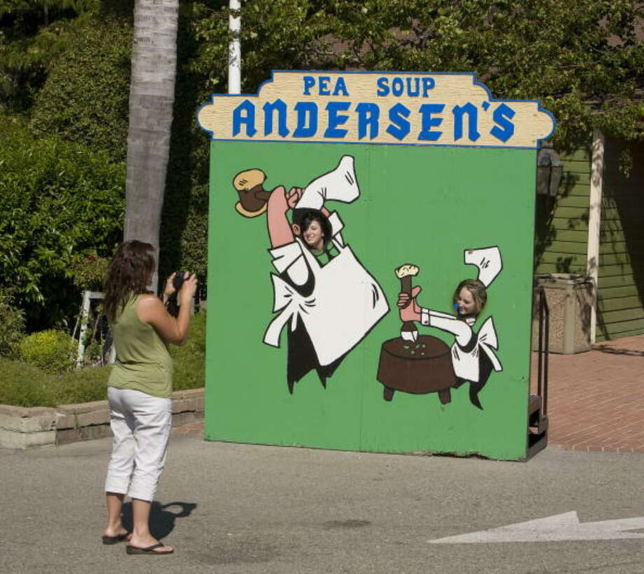 Pea Soup Andersen's    With locations in Buellton and Gustine, and plenty of billboards to point the way, you can't avoid the split pea soup or mascots 'Happea' and 'Pea-Wee.' Photo: George Rose, Getty Images / 2009 George Rose