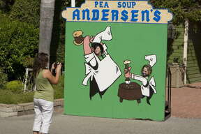 Pea Soup Andersen's       With locations in Buellton and Gustine, and plenty of billboards to point the way, you can't avoid the split pea soup or mascots 'Happea' and 'Pea-Wee.'