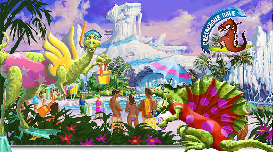 EarthQuest would be seven times larger than AstroWorld, with 50 attractions   that stress environmental stewardship including  a 12-acre water park  made from a retreating glacier to an animal park  that includes  threatened species and a ride through a land with a fiery  volcano and  life-sized dinosaurs. Photo: EarthQuest/Contour Entertainment