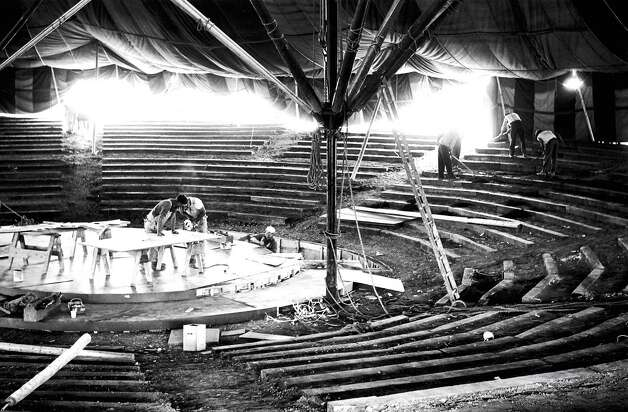 Historic Colonie: Workers completing the stage at the Colonie Music Theater, 1958. /