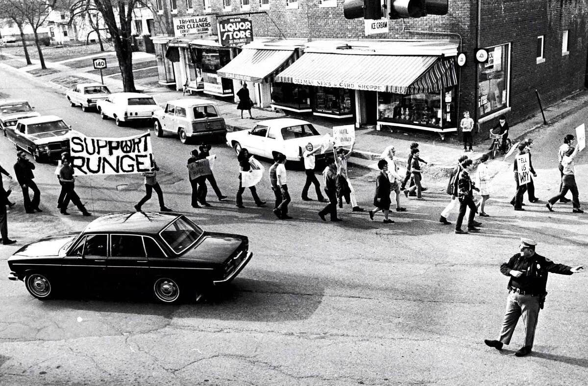 Historic Bethlehem: Student protesters march down Delaware Avenue in support of high school principal Paul Runge, 1970.