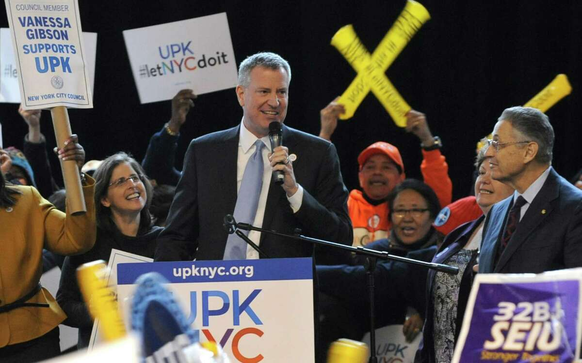 New York City Mayor Bill de Blasio delivers remarks at the Universal Pre-K New York City rally at the Washington Avenue Armory Tuesday, March 4, 2014, in Albany, N.Y. (Lori Van Buren / Times Union)