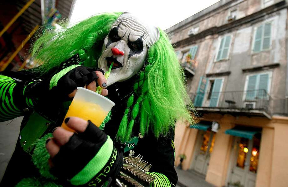 Hey, kids, it's Sippy the Clown! In the French Quarter of New Orleans, Mardi Gras brings out the city's creepiest clowns. Photo: Sean Gardner, Getty Images