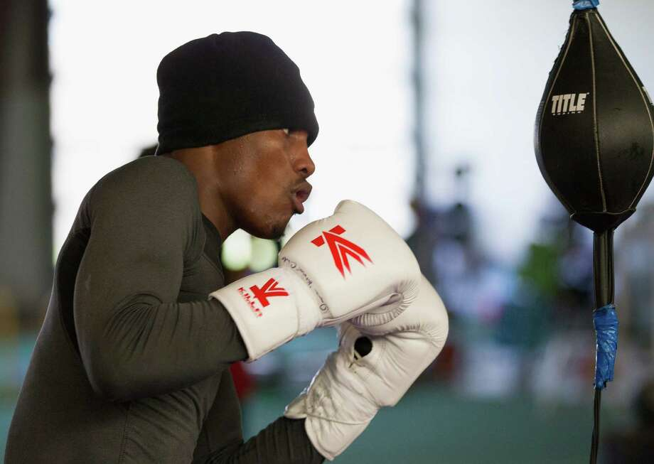 Jermall Charlo trains at the PLEX Gym as he prepares for the IBF Light Middleweight title in Las Vegas on March 8, 2014. Charlo is currently undefeated. (Bob Levey/For The Chronicle) Photo: Bob Levey, For The Chronicle / ©2014 Bob Levey