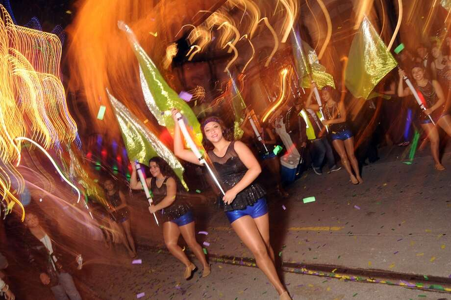 Milby High School color guard performs outside the party.  (Photo by Dave Rossman) Photo: Dave Rossman, For The Houston Chronicle