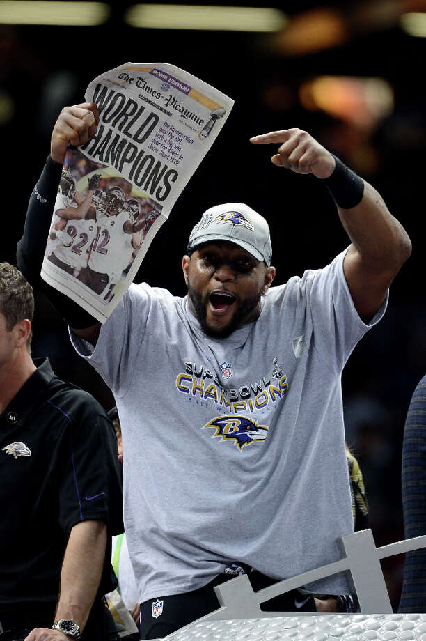 Ray Lewis #52 of the Baltimore Ravens celebrates after the Ravens won 34-31 against the San Francisco 49ers during Super Bowl XLVII at the Mercedes-Benz Superdome on February 3, 2013 in New Orleans, Louisiana. (suggested by drimblewedge) Photo: Harry How, Getty Images / 2013 Getty Images