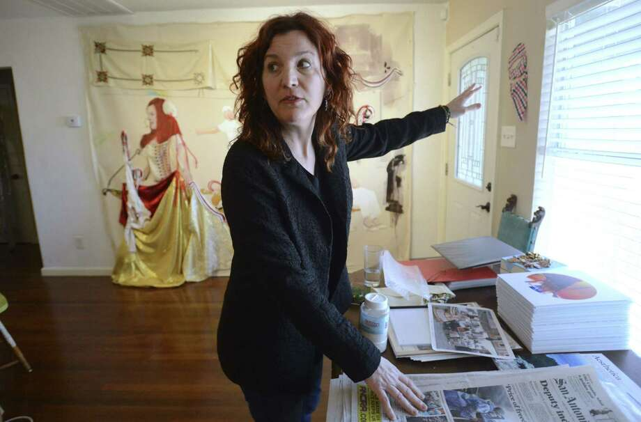 """Mira Hnatyshyn's """"Euroscapes"""" kicks off Contemporary Art Month and includes """"The Braidbasket"""" (in the background). / San Antonio Express-News"""
