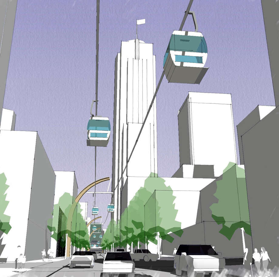 A section of the proposed Seattle gondola along Union Street is shown in this artist's depiction. Photo: Great Western Pacific