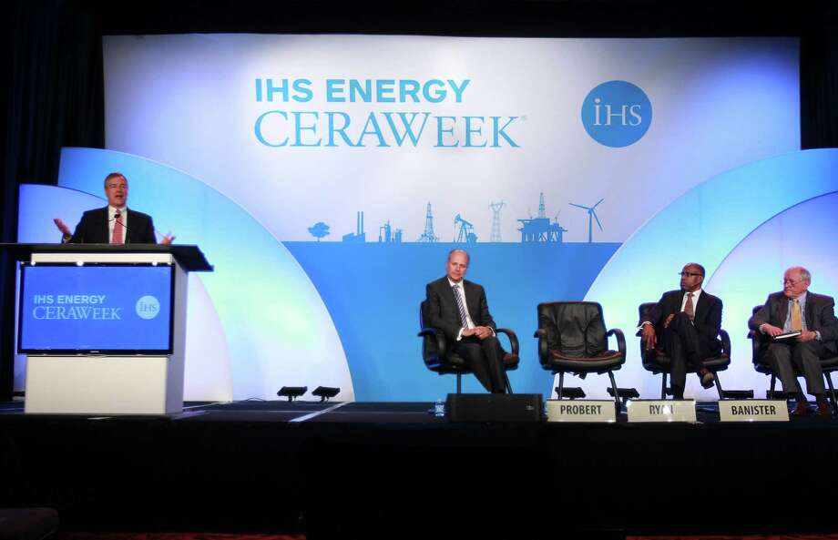 Robert Ryan, Jr., vice president of global exploration for Chevron Upstream, delivers remarks at the IHS Energy CERA Week summit in Houston. Photo: Mayra Beltran / Houston Chronicle / © 2014 Houston Chronicle